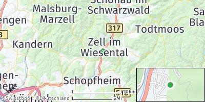 Google Map of Zell im Wiesental