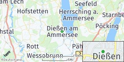Google Map of Dießen am Ammersee