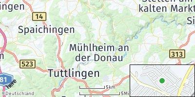 Google Map of Mühlheim an der Donau