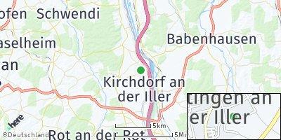 Google Map of Dettingen an der Iller