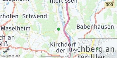 Google Map of Kirchberg an der Iller
