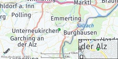 Google Map of Burgkirchen an der Alz