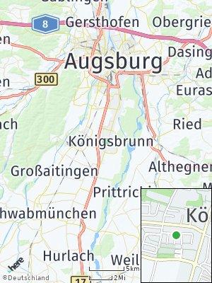 Here Map of Königsbrunn bei Augsburg