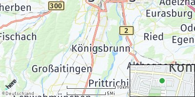 Google Map of Königsbrunn bei Augsburg