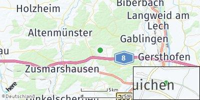Google Map of Bonstetten bei Augsburg