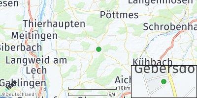 Google Map of Petersdorf bei Aichach
