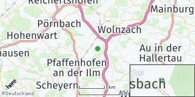 Google Map of Walkersbach an der Ilm