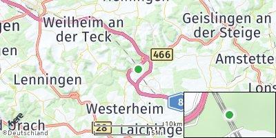 Google Map of Mühlhausen im Täle