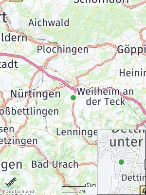 Here Map of Dettingen unter Teck