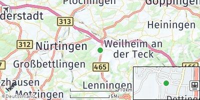 Google Map of Dettingen unter Teck