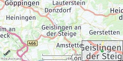Google Map of Geislingen an der Steige