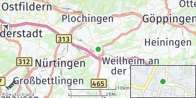 Google Map of Kirchheim unter Teck