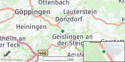 Google Map of Gingen an der Fils