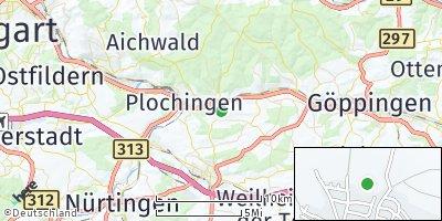 Google Map of Hochdorf bei Plochingen