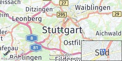 Google Map of Stuttgart-Süd