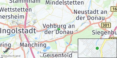 Google Map of Vohburg an der Donau