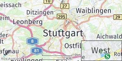 Google Map of Stuttgart-West