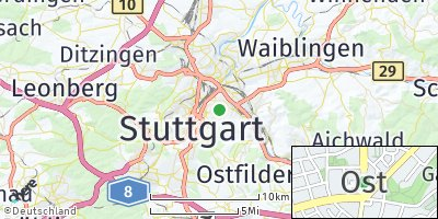 Google Map of Stuttgart-Ost