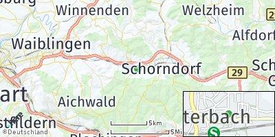 Google Map of Winterbach bei Schorndorf