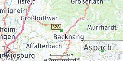 Google Map of Aspach bei Backnang