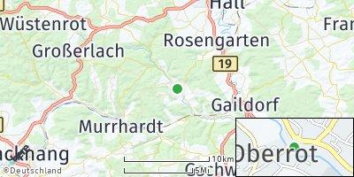 Google Map of Oberrot bei Gaildorf