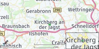 Google Map of Kirchberg an der Jagst