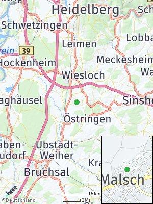Here Map of Malsch bei Wiesloch