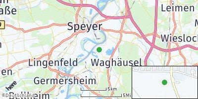 Google Map of Oberhausen-Rheinhausen