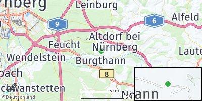 Google Map of Grünsberg bei Nürnberg