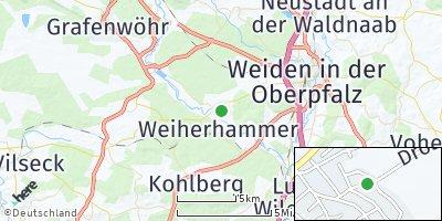 Google Map of Mantel bei Weiden
