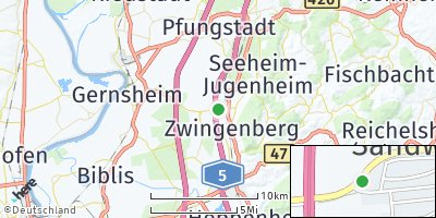 Google Map of Alsbach-Hähnlein