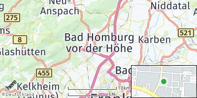 Google Map of Bad Homburg vor der Höhe