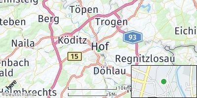 Google Map of Hof an der Saale