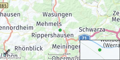 Google Map of Walldorf bei Meiningen