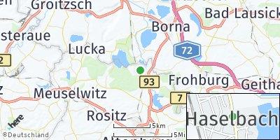 Google Map of Haselbach bei Altenburg
