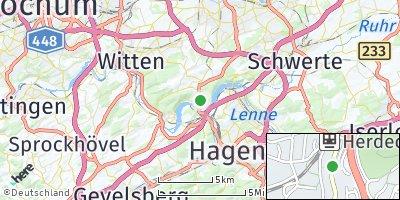 Google Map of Herdecke an der Ruhr