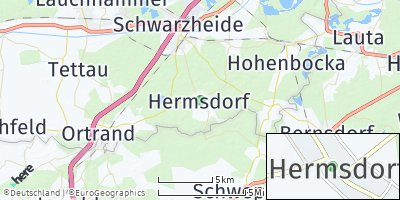 Google Map of Hermsdorf bei Ruhland