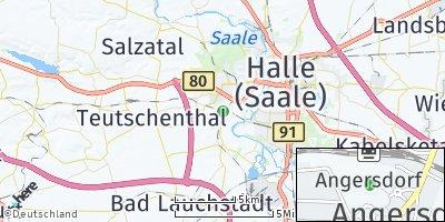Google Map of Angersdorf bei Halle