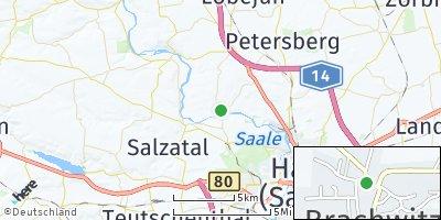 Google Map of Brachwitz bei Halle