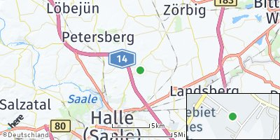 Google Map of Oppin bei Halle