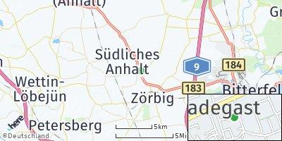 Google Map of Radegast bei Köthen