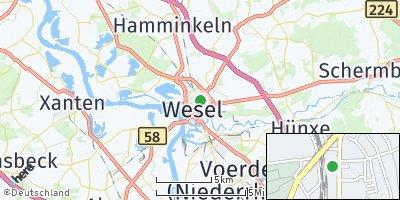 Google Map of Wesel am Rhein