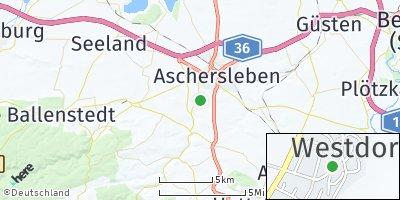 Google Map of Westdorf bei Aschersleben