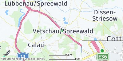 Google Map of Vetschau / Spreewald