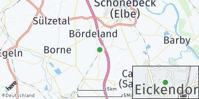 Google Map of Eickendorf bei Schönebeck