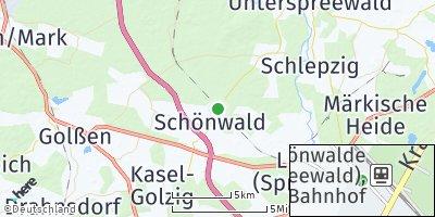 Google Map of Schönwald bei Lübben