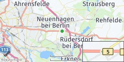 Google Map of Fredersdorf-Vogelsdorf
