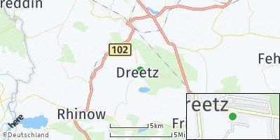 Google Map of Dreetz bei Neustadt