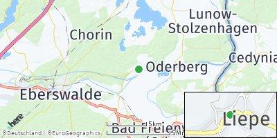 Google Map of Liepe bei Eberswalde