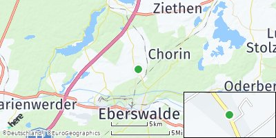 Google Map of Britz bei Eberswalde